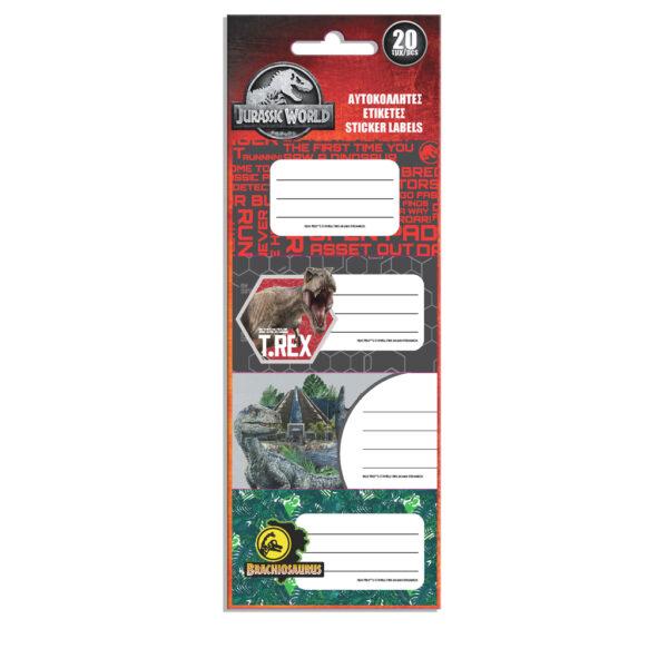 Ετικέτες Αυτοκόλλητες Jurassic World 20 Τμχ. σε 5 Σχέδια Jurassic World Αγόρι  Jurassic World