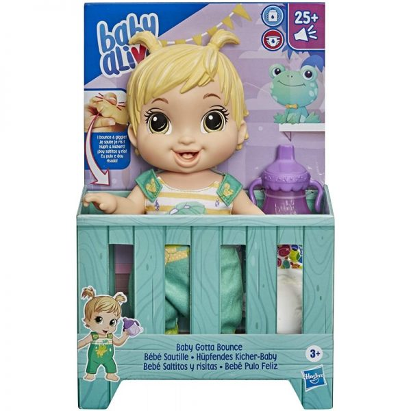 Baby Alive Baby Gotta Bounce Doll, Frog Outfit, Bounces With 25+ SFX And Giggles E9427 Baby Alive Κορίτσι 3-4 ετών, 4-5 ετών BABY ALIVE