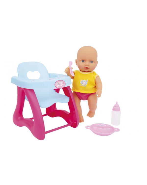 Love Bebe' Κούκλα Μωρό με Καρεκλάκι Φαγητού Love Bebe' Κορίτσι