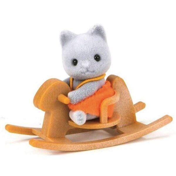 Sylvanian Families: Grey Cat Baby With Rocking Horse Γκρι Γατάκι Σε Αλογάκι 5135 Sylvanian Families Κορίτσι 3-4 ετών, 4-5 ετών Sylvanian Families