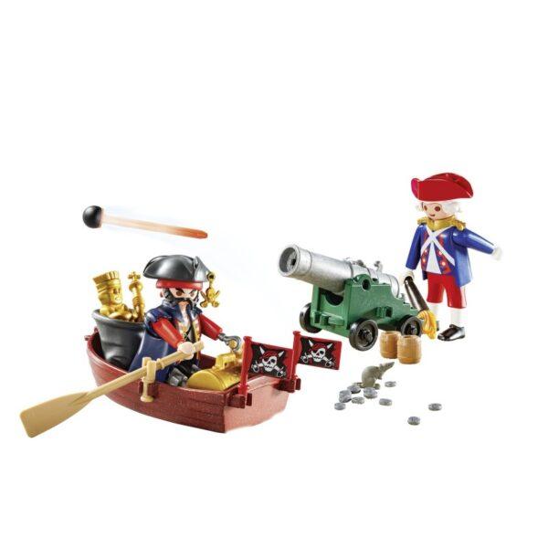 Playmobil Pirates Βαλιτσάκι Λιμενοφύλακας Με Κανόνι Και Πειρατής Σε Βάρκα 9102  Αγόρι, Κορίτσι 4-5 ετών, 5-7 ετών Playmobil, Playmobil Pirates