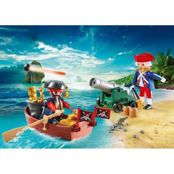 Playmobil, Playmobil Pirates  Playmobil Pirates Βαλιτσάκι Λιμενοφύλακας Με Κανόνι Και Πειρατής Σε Βάρκα 9102 Αγόρι, Κορίτσι 4-5 ετών, 5-7 ετών