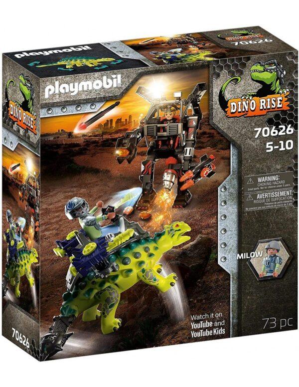 Playmobil Αγκυλόσαυρος με μαχητή εναντίον ρομπότ 70626 Playmobil, Playmobil Dino Rise Αγόρι 4-5 ετών, 5-7 ετών, 7-12 ετών