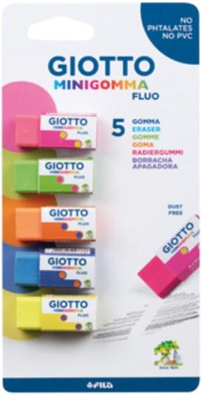 Γόμα Giotto Minigomma Fluo 5τμχ σε Blister 000025200 GIOTTO Αγόρι, Κορίτσι