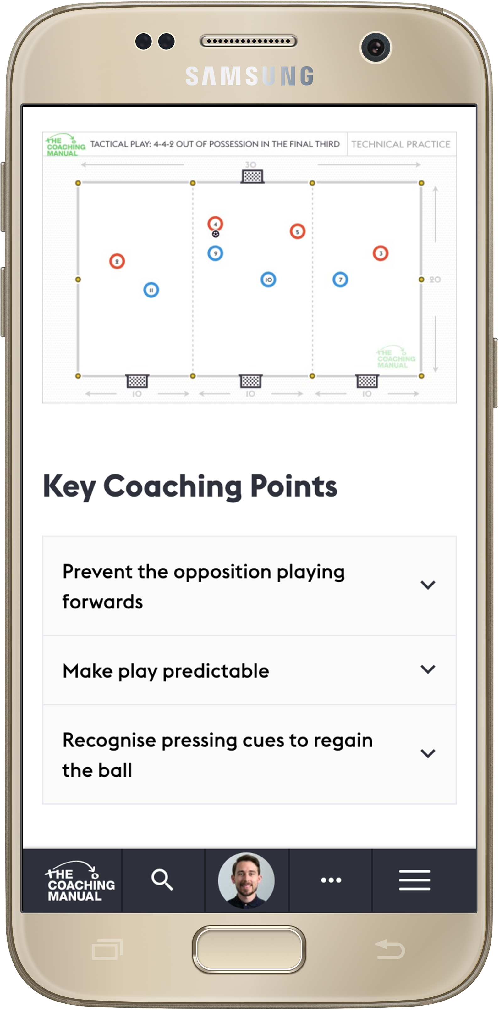 Samsung phone displaying full coaching sessions