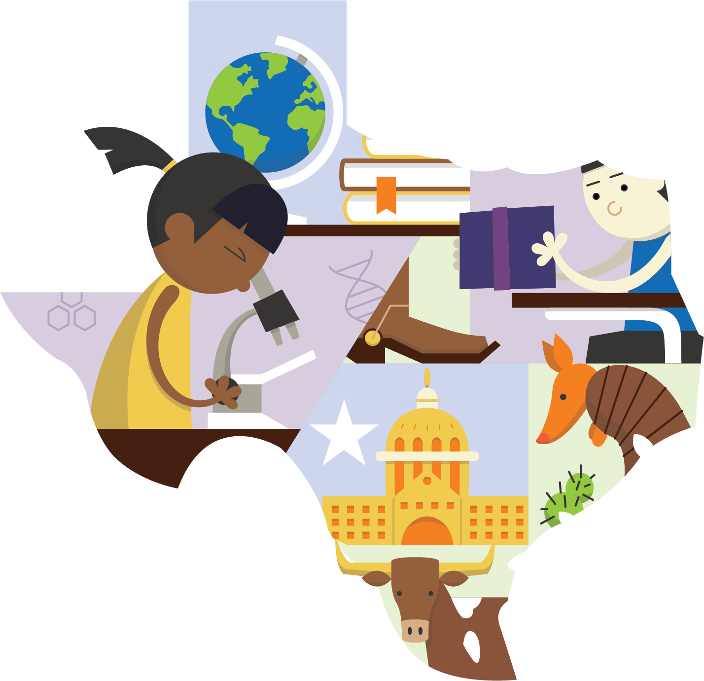 TEA state outline with microscope, globe, boots, books, armadillo, capitol building, long horn, star, desk and cactus