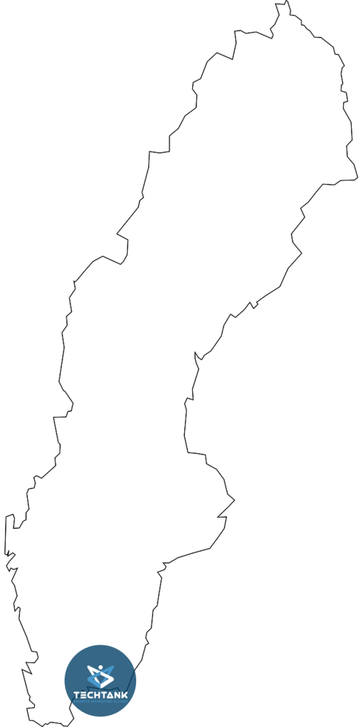 Bild på karta över Sverige med Techtanks logga på Blekinge