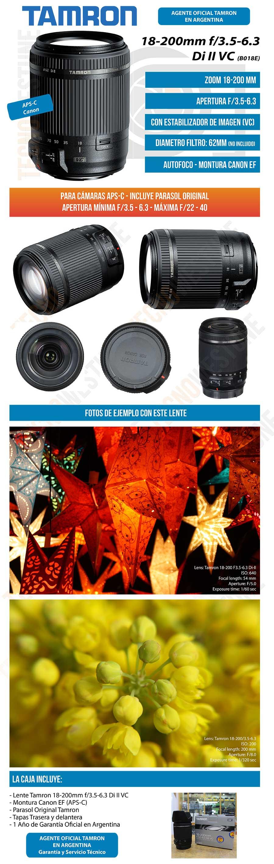785f43d510 Lente Tamron 18 200mm F/3.5-6.3 Di Ii Vc Estabilizado - Canon ...
