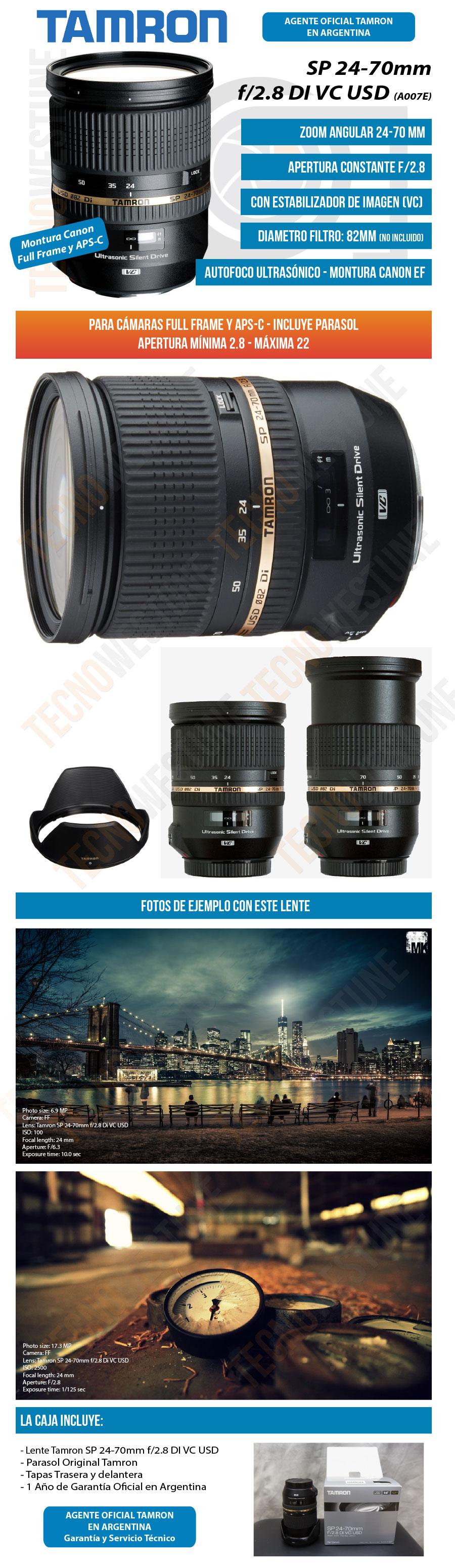 Lente Tamron Sp 24-70mm F/2.8 Di Vc Usd Estabilizado Canon ...