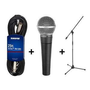 Microfono Shure SM58 + Cable Shure C25J + Pie Samson BL3