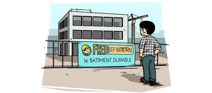 Bâche imprimée sur échafaudage ou sur barrière de chantier :   communiquer sur le chantier, l'entreprise le projet à venir, etc.