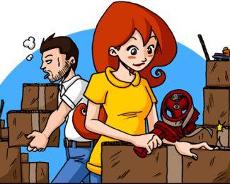 Martine emménage, cartons, adhésif et papier bulles au rendez-vous !