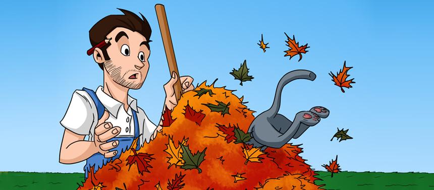 L'automne arrive : Fred ramasse les feuilles, couvre sa piscine et son mobilier de jardin