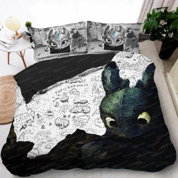 Td07 Glorious Night Fury Bed Set, King Queen Bed Set