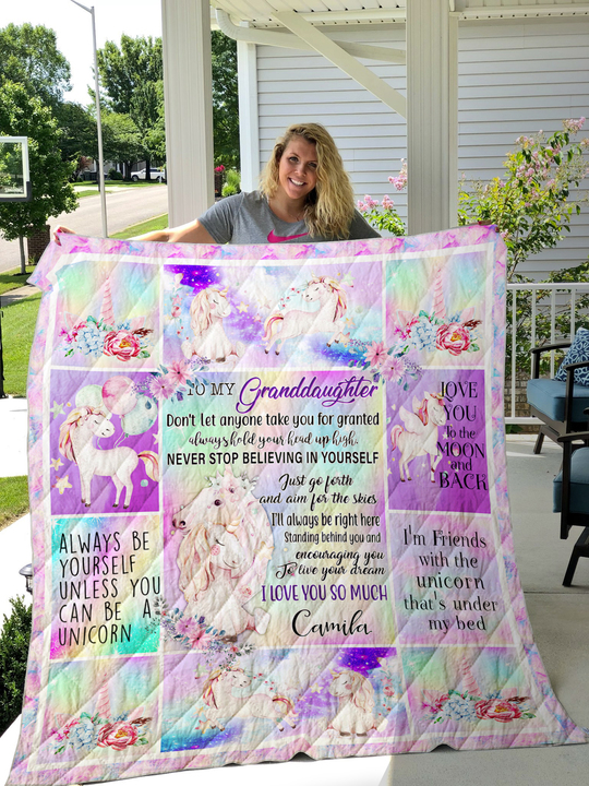 LL – Personalized – Unicorn – To my Grandaughter quilt blanket ver 1