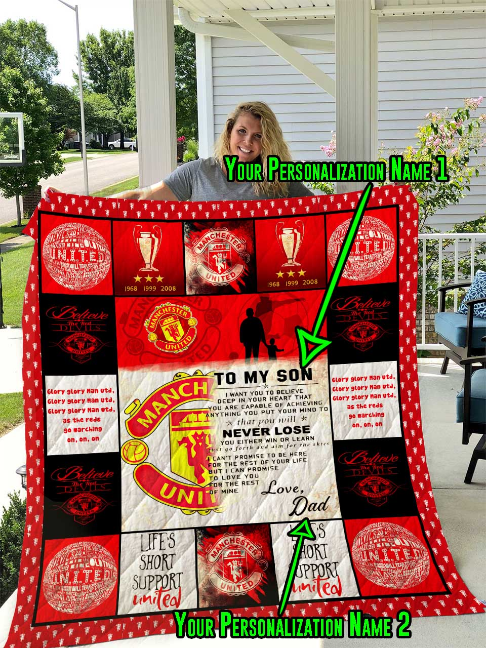 Manchester United F C Personalized Name Quilt Blanket Teecago