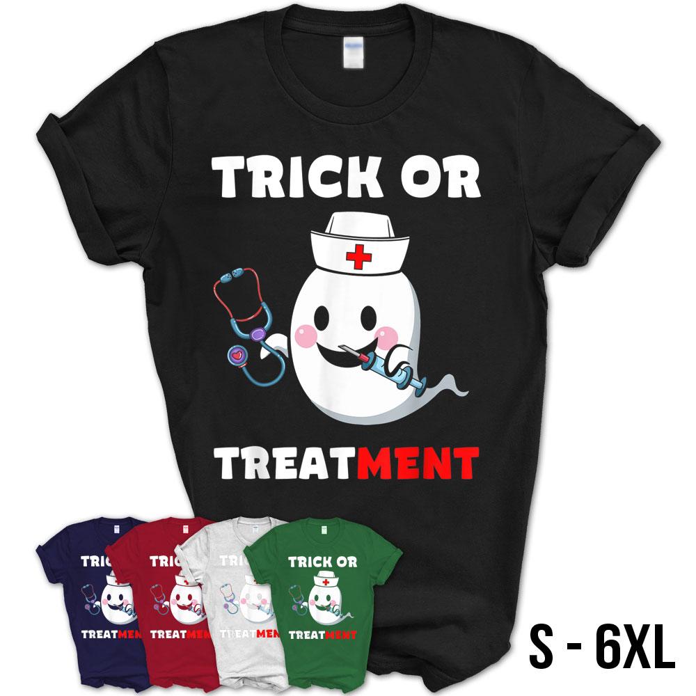 Halloween Trick Or Treatment Funny Nurse Costume Cute Ghost T-Shirt