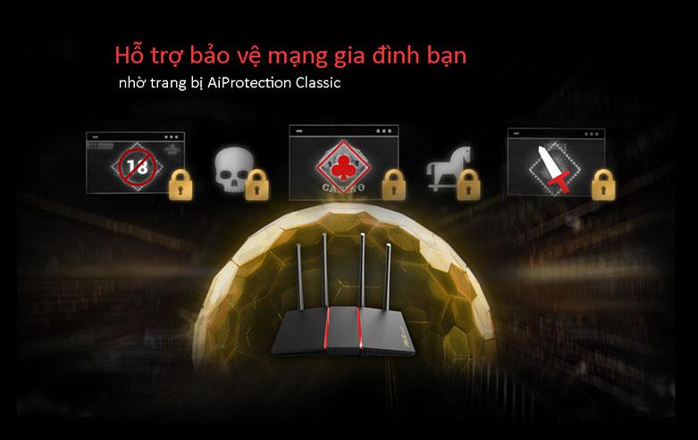 Thiết bị mạng Asus RT-AX55 | Bảo vệ mạng gia đình
