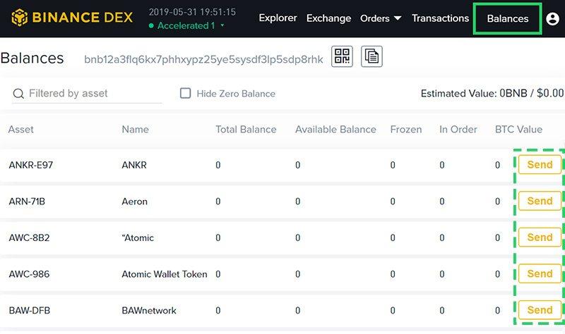 Интерфейс кошелька на Binance DEX