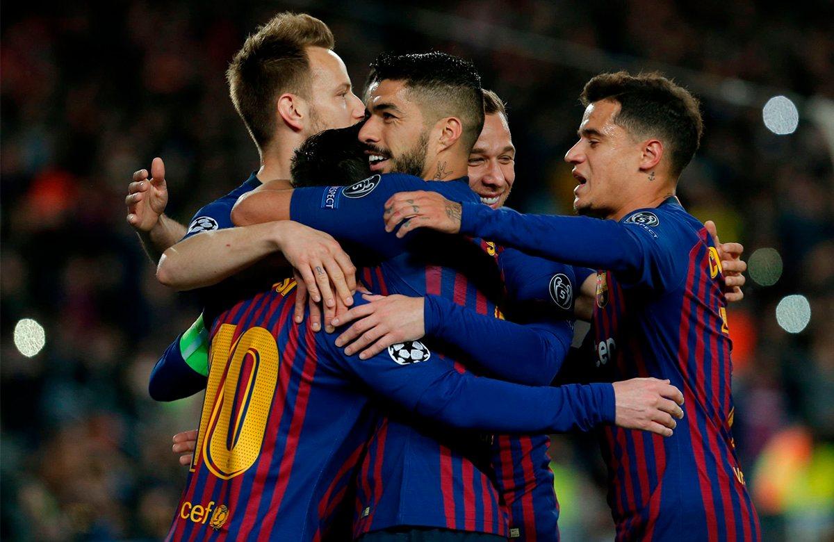 Барселона празднует победу над Лионом