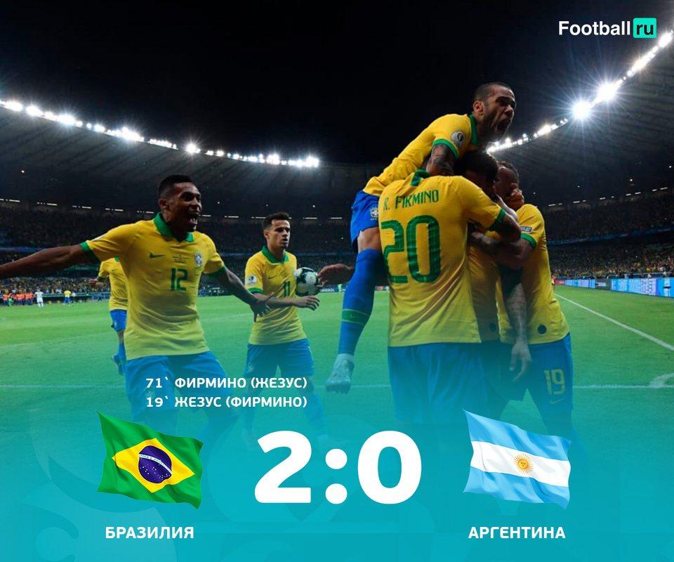Аргентина уступила в полуфинале Копа Америка Бразилии