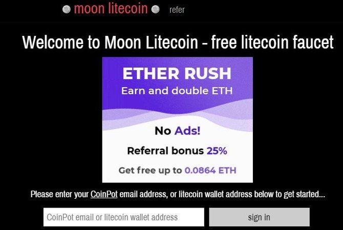 Криптовалютный кран MoonLitecoin