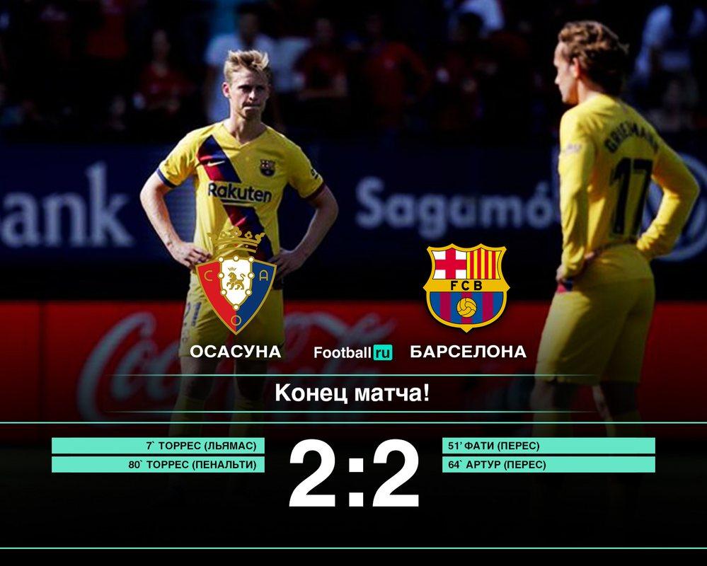 Барселона сыграла вничью с Осасуной, 2:2