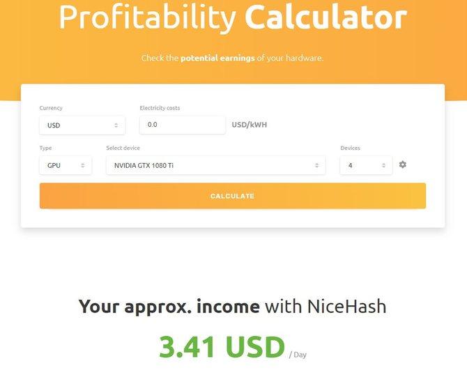 Расчет прибыльности майнинга Ethereum на калькуляторе NiceHash