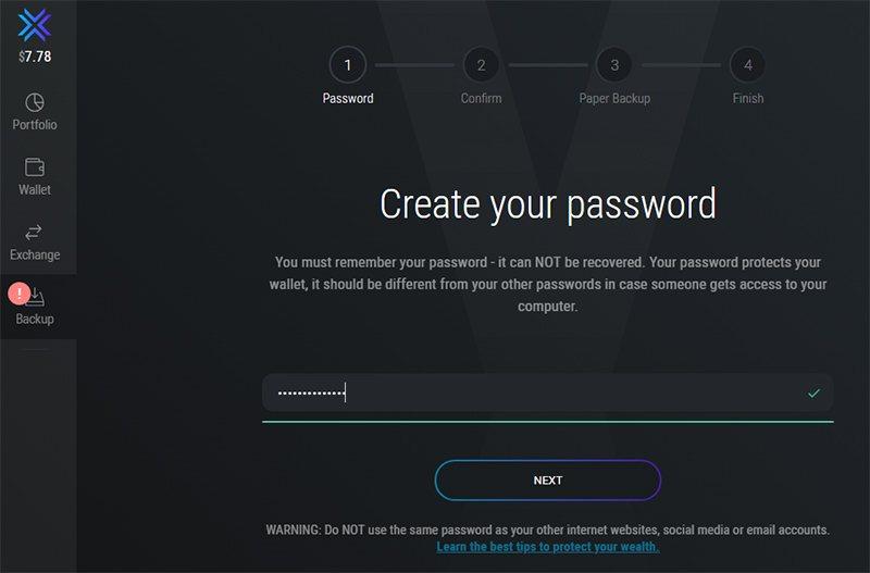 Установка пароля для доступа к кошельку Exodus