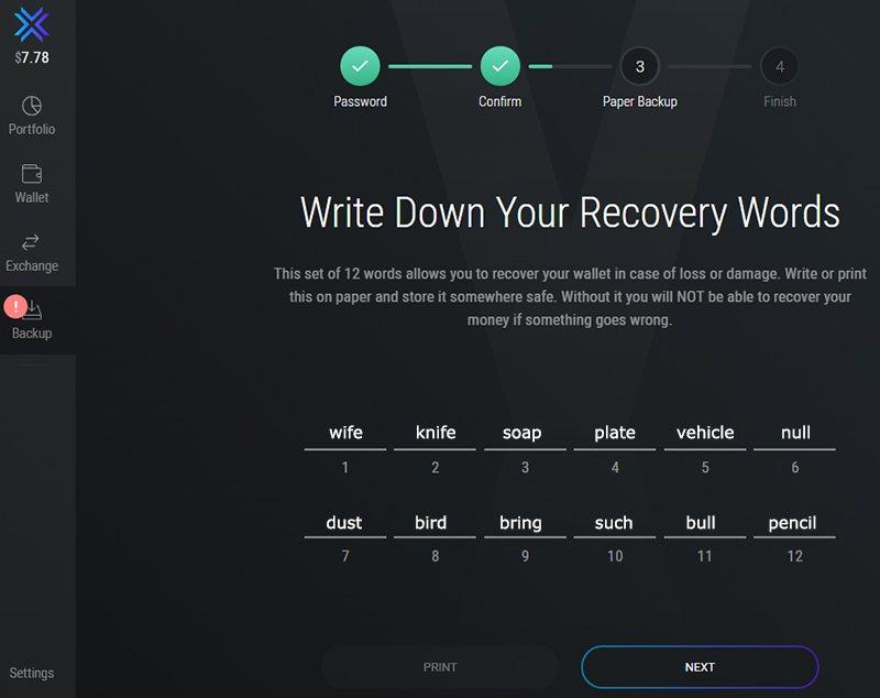 Seed-фраза для восстановления доступа к кошельку Exodus