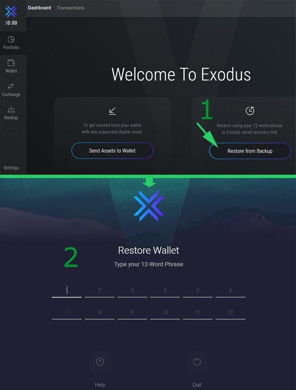 Восстановление доступа к кошельку Exodus