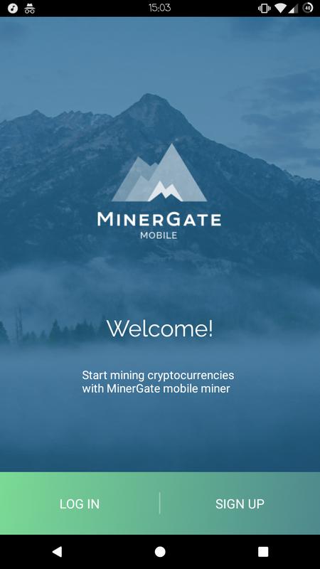 Главная страница приложения MinerGate