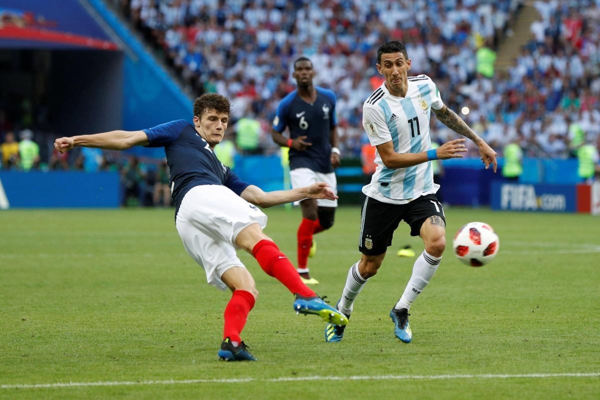 Бенжамен Павар, сборная Франции и Анхель Ди Мария, сборная Аргентины