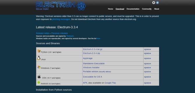 Страница загрузки кошельков Electrum // Источник: Electrum