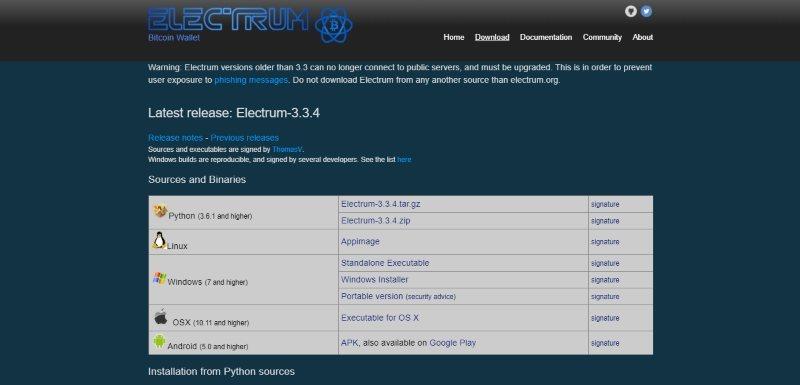 Страница загрузки кошельков Electrum
