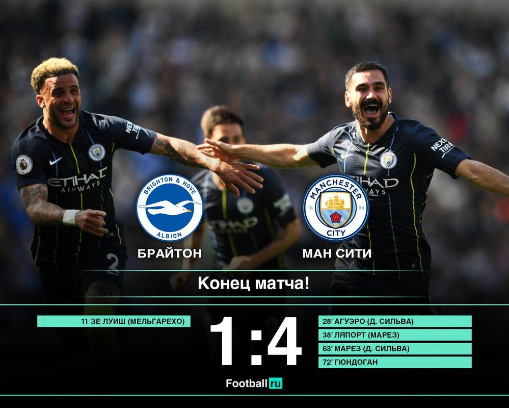 Манчестер Сити в решающем матче разгромил Брайтон