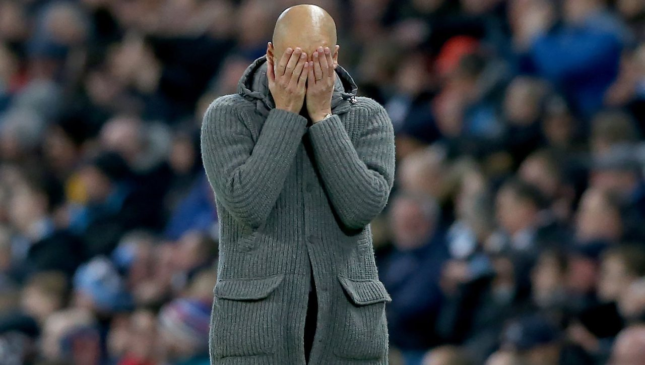Эмоции Гвардиолы во время матча против Тоттенхэма