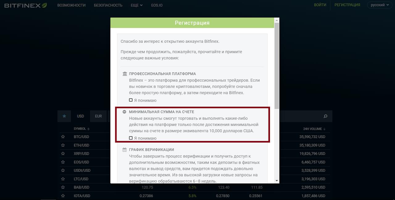 Верификация на Bitfinex