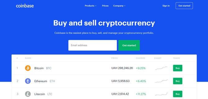 Официальный сайт кошелька Coinbase