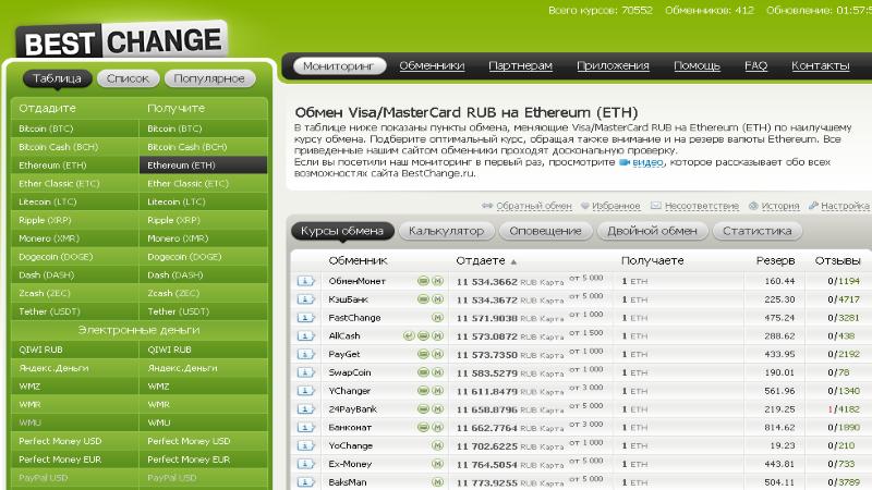 Вид интерфейса сервиса Bestchange