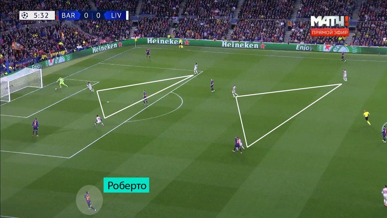 Билд-ап через Роберто, противодействие 4-4-2 схеме 4-3-3 при помощи крайних защитников
