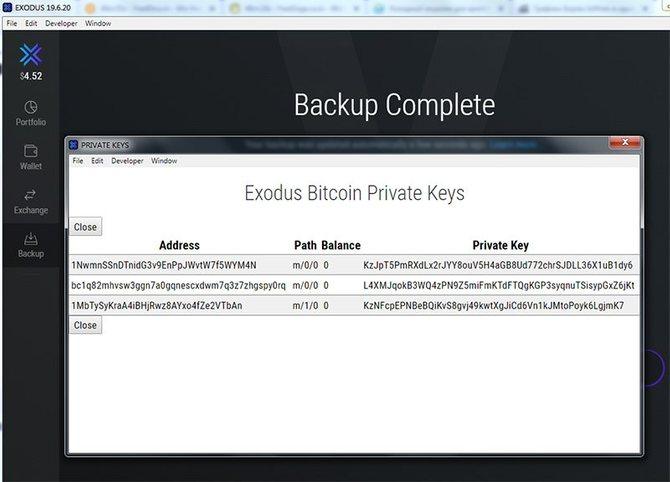 Извлечение приватных ключей из Exodus для холодного хранения