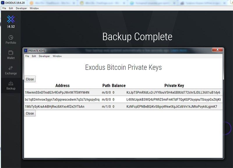 Извлечение приватных ключей из Exodus для холодного хранения биткоина