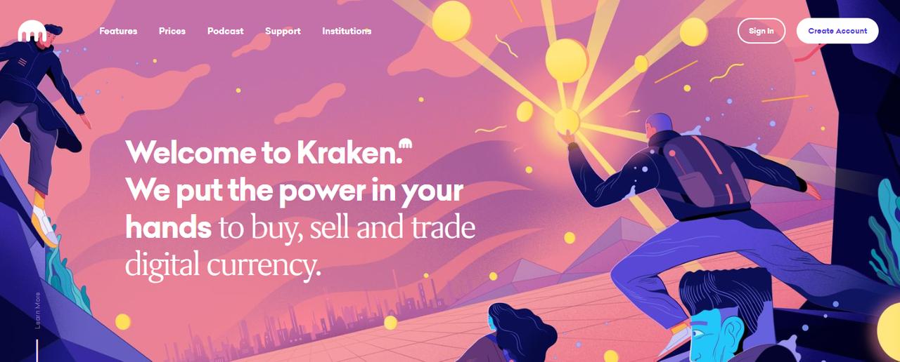 Официальный сайт криптовалютной биржи Kraken