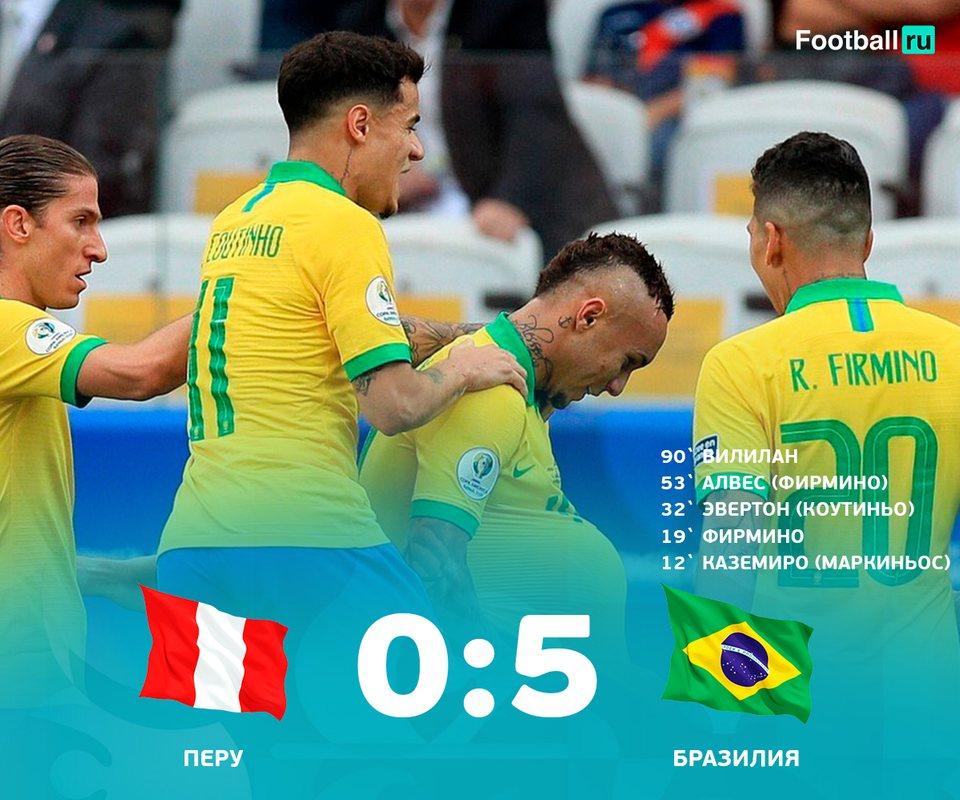 Бразилия разгромила Перу и вышла в плей-офф Копа Америка
