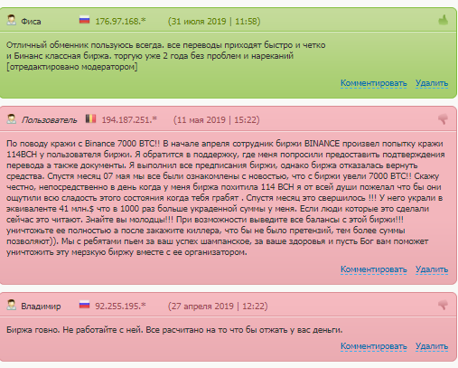 Отзывы пользователей о бирже Binance