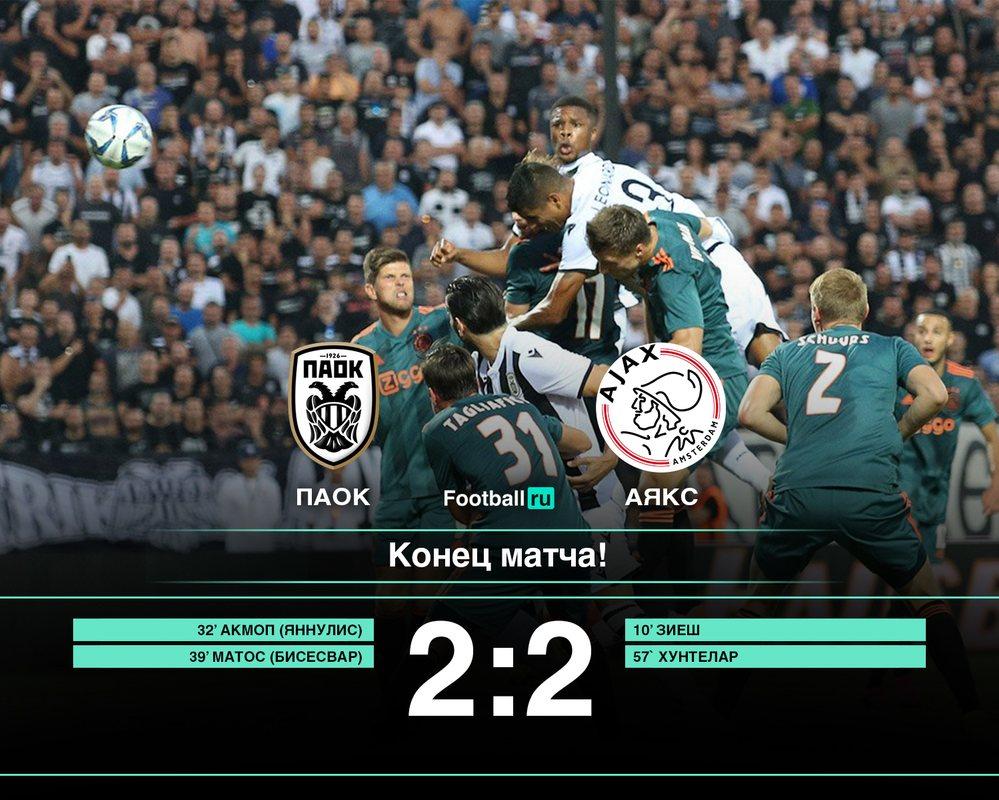 Аякс сыграл вничью с ПАОК (2:2)