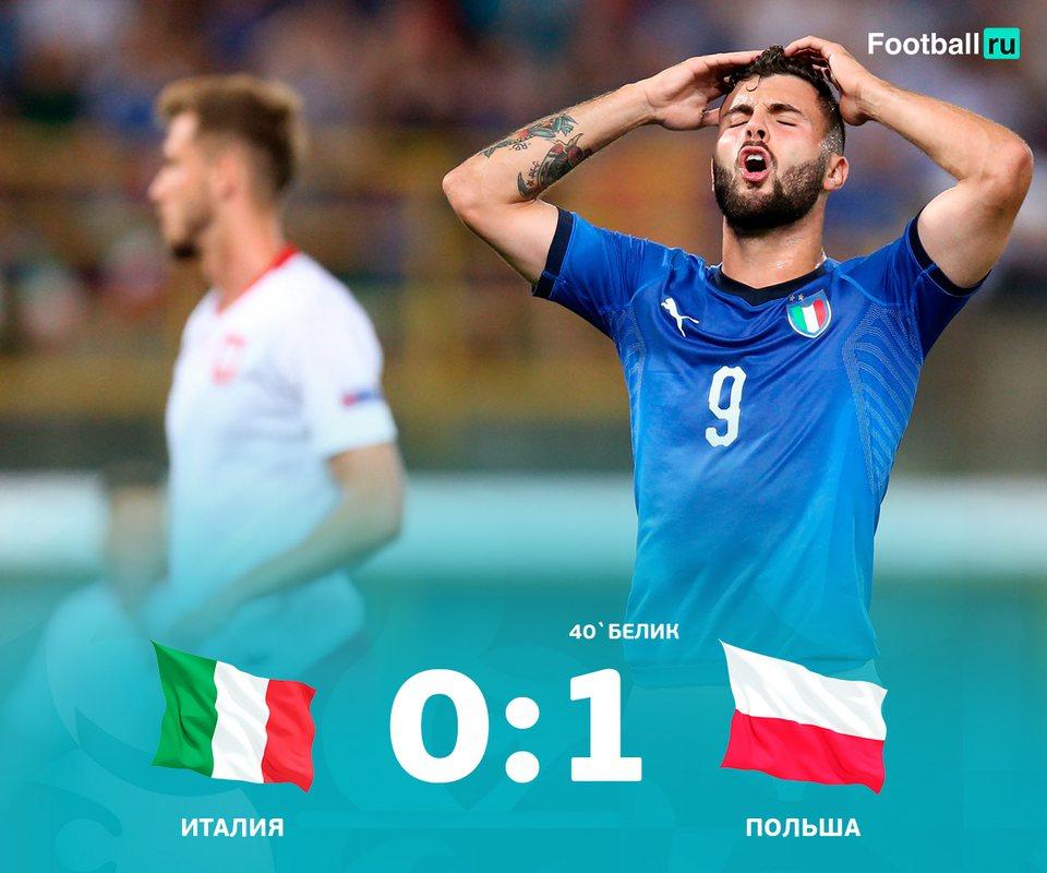 Италия оступилась в матче с Польшей, проиграв 0:1