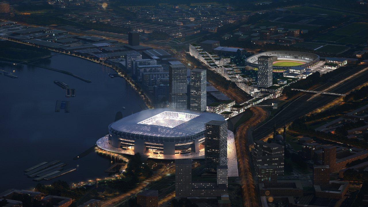 На ближнем плане - новый стадион Фейеноорда. Вдали виден Де Куйп
