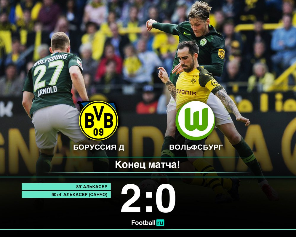Боруссия Д - Вольфсбург 2:0